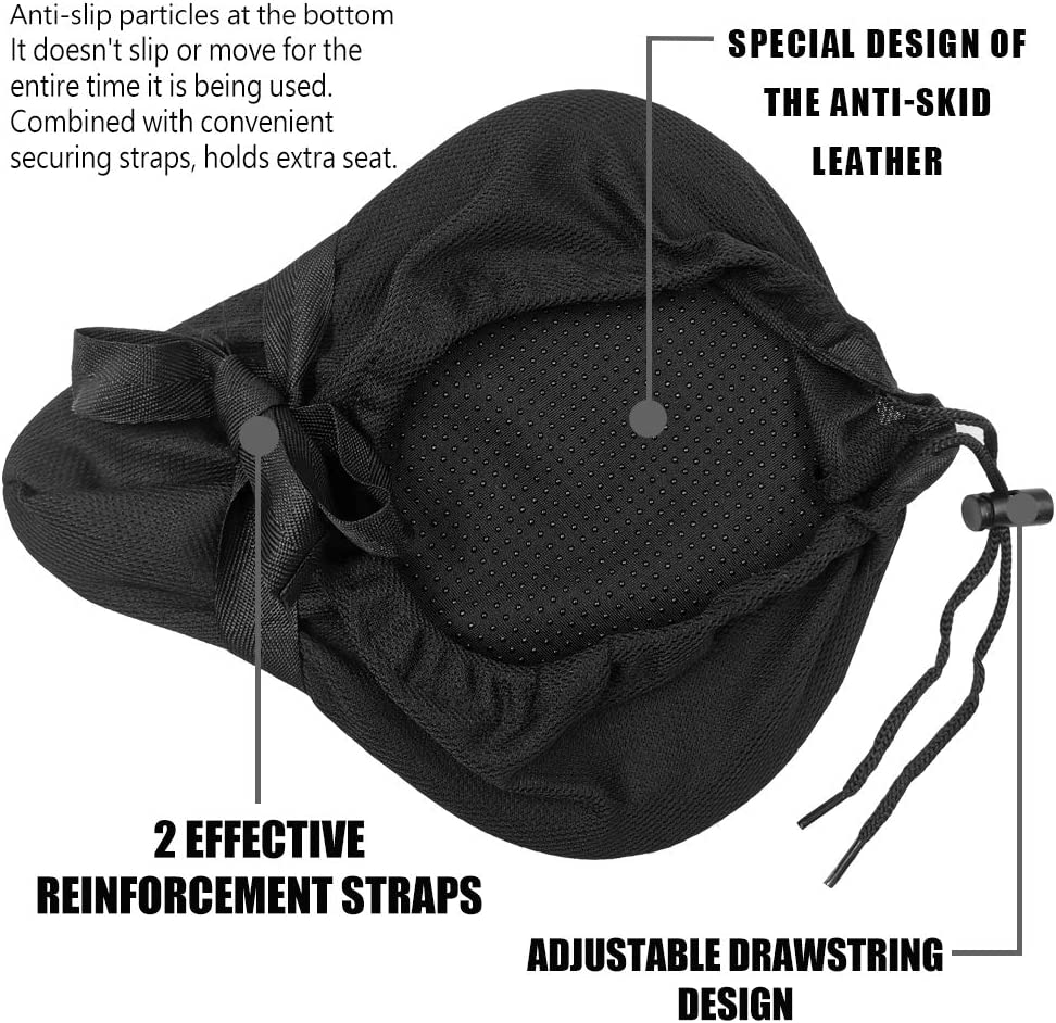 ANZOME Gel Bike Seat Cushion Black Extra Soft Gel Bike Seat Cover 10.2x8.6 with Water/&Dust Resistant Cover for Spin Class or Outdoor Biking