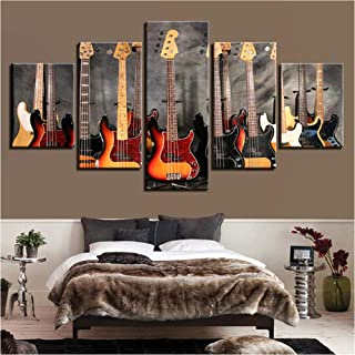 YANGSHUANG Canvas Paintings Modular Wall Art Prints Framework 5 Pieces Bass Guitar Collage Pictures Music Poster for Living Room Home Decor
