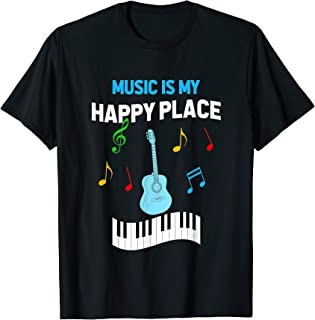 Cute Music Musician Tees - Music Is My Happy Place T-Shirt
