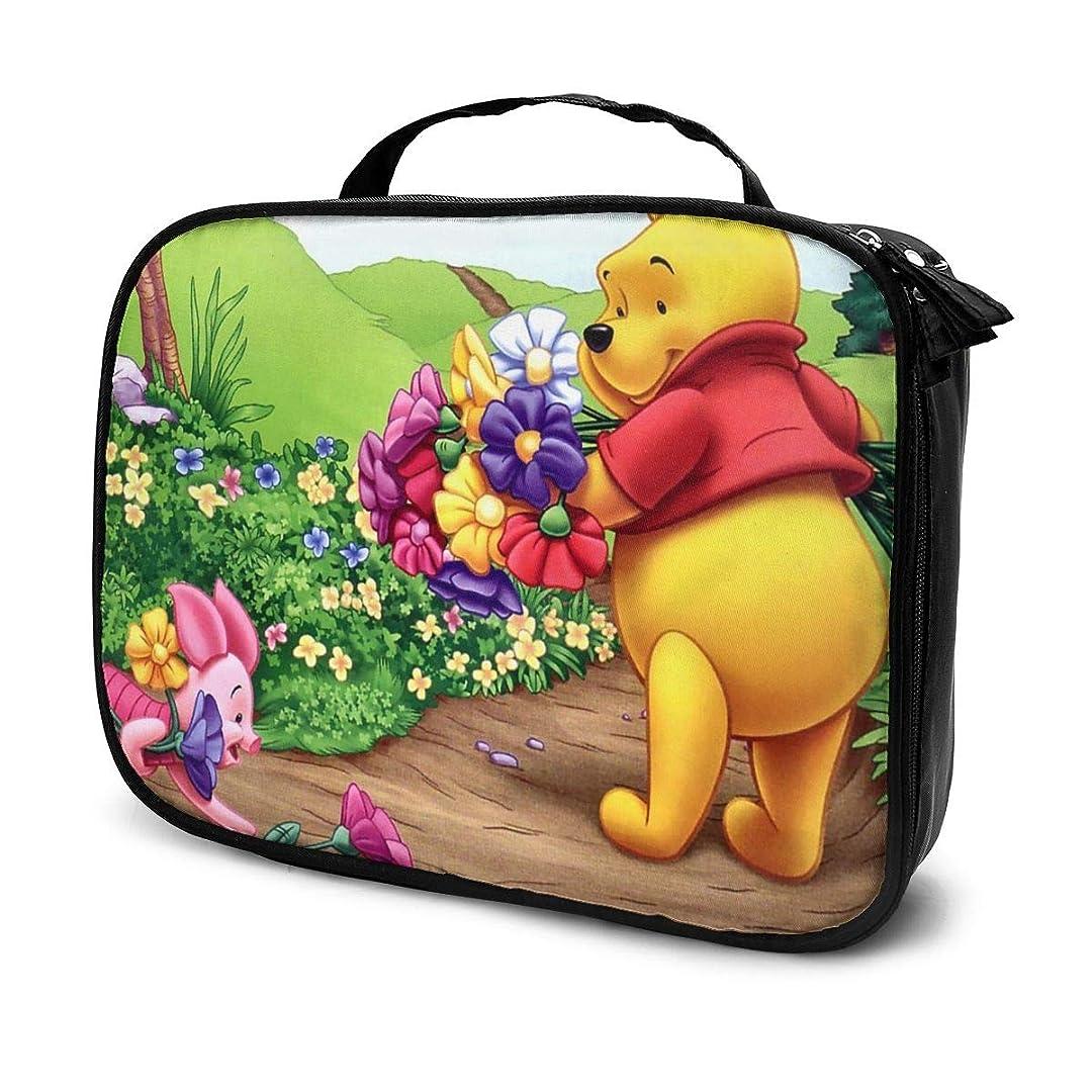 もつれ過敏な伝導Daituくまのプーさんと花と子豚 化粧品袋の女性旅行バッグ収納大容量防水アクセサリー旅行