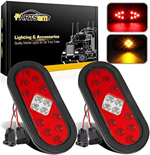 Partsam 2Pcs 6 Inch Oval Led Stop Turn Tail Lights with Integrated Parking Lights 14LED w Reflectors, Sealed 6