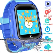PTHTECHUS Kids Waterproof GPS Smart Watch for Boys Girls,Students Touch Screen Smartwatch with GPS Tracker Voice Chat One Key SOS for Help Clock Camera,Suitable for Childrens Aged 4-12, Blue
