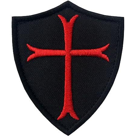 EmbTao Cavalieri Templari Attraversare Scudo Militare Morale con Fissaggio Chiusura a uncino e asola Ricamata Toppa