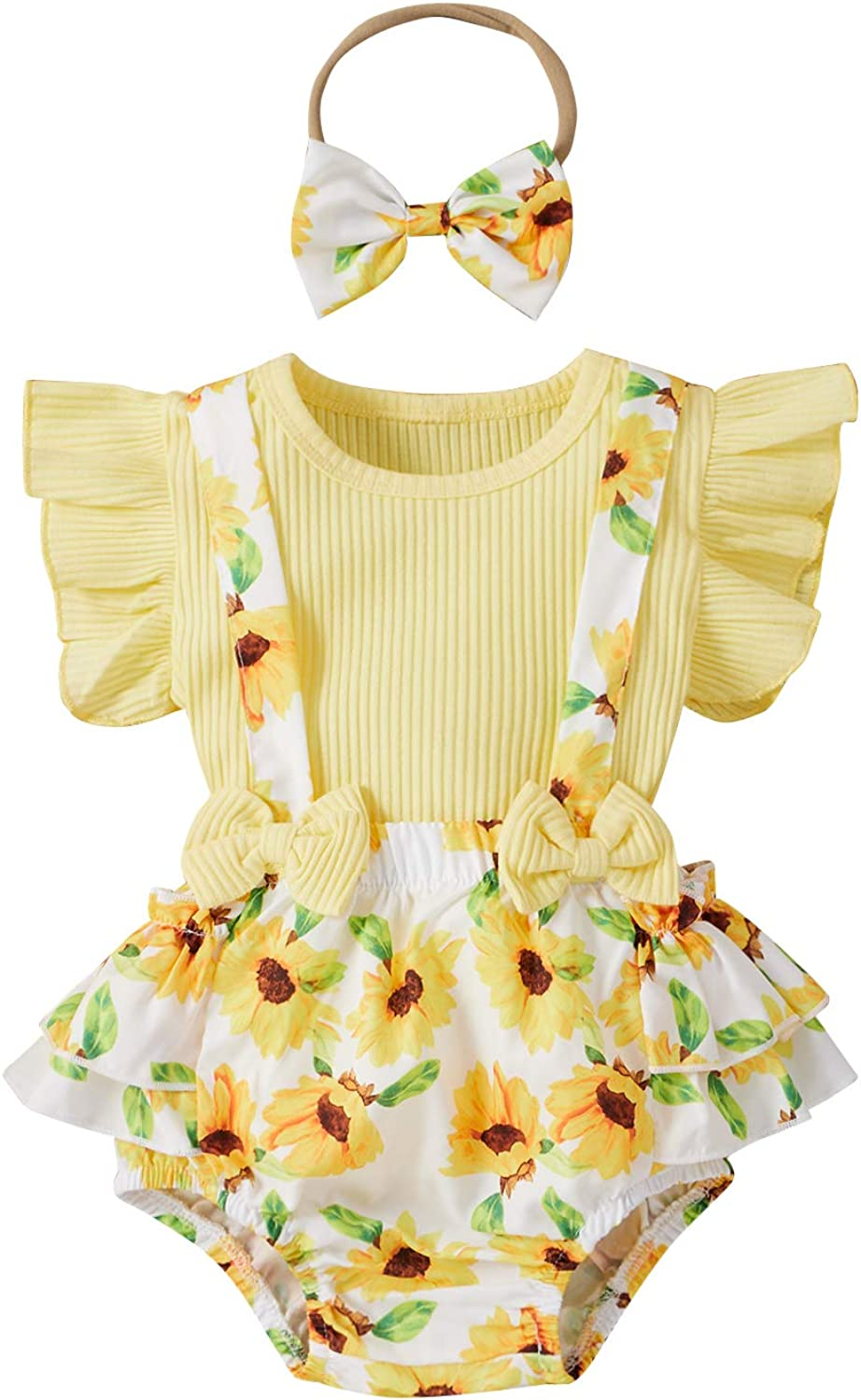 Newborn Baby Girl Summer Clothes Ruffle Sleeve Ribbed T-Shirt Top Floral Suspender Shorts Headband 3Pcs Outfit