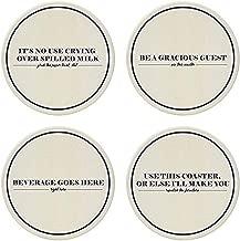 CoasterStone Absorbent Coasters (Set of 4), Neat Freak, 4-1/4