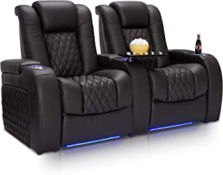 Seatcraft Diamante Home Theater Seating Leather Power Recline with Adjustable Powered Headrest, SoundShaker, USB Charging, Cup Holders, Ambient Lighting (Row of 2, Black)