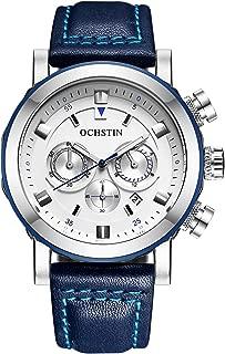 OCHSTIN Men's Quartz Watch Waterproof Alloy Case Chronograph Multifunction Leather Fashion Wrist Watch
