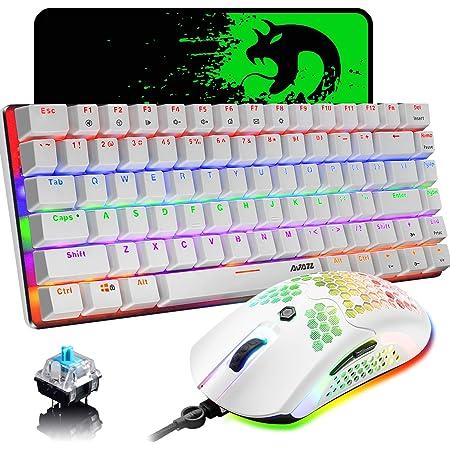 Teclado para Juegos con Cable Combo de Mouse, Juego 3 en 1, Teclado de 82 Teclas con Interruptor de Arco Iris retroiluminado Azul, 12000 dpi 65G Mouse ...