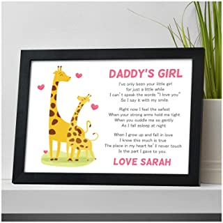 PERSONALISED Daddy's Girl Poem Gifts for Dad, Daddy for Birthday, Christmas, Fathers Day - Gifts for Dad, Daddy, Grandad, Him from Daughter, Little Girl - ANY NAME and ANY RECIPIENT