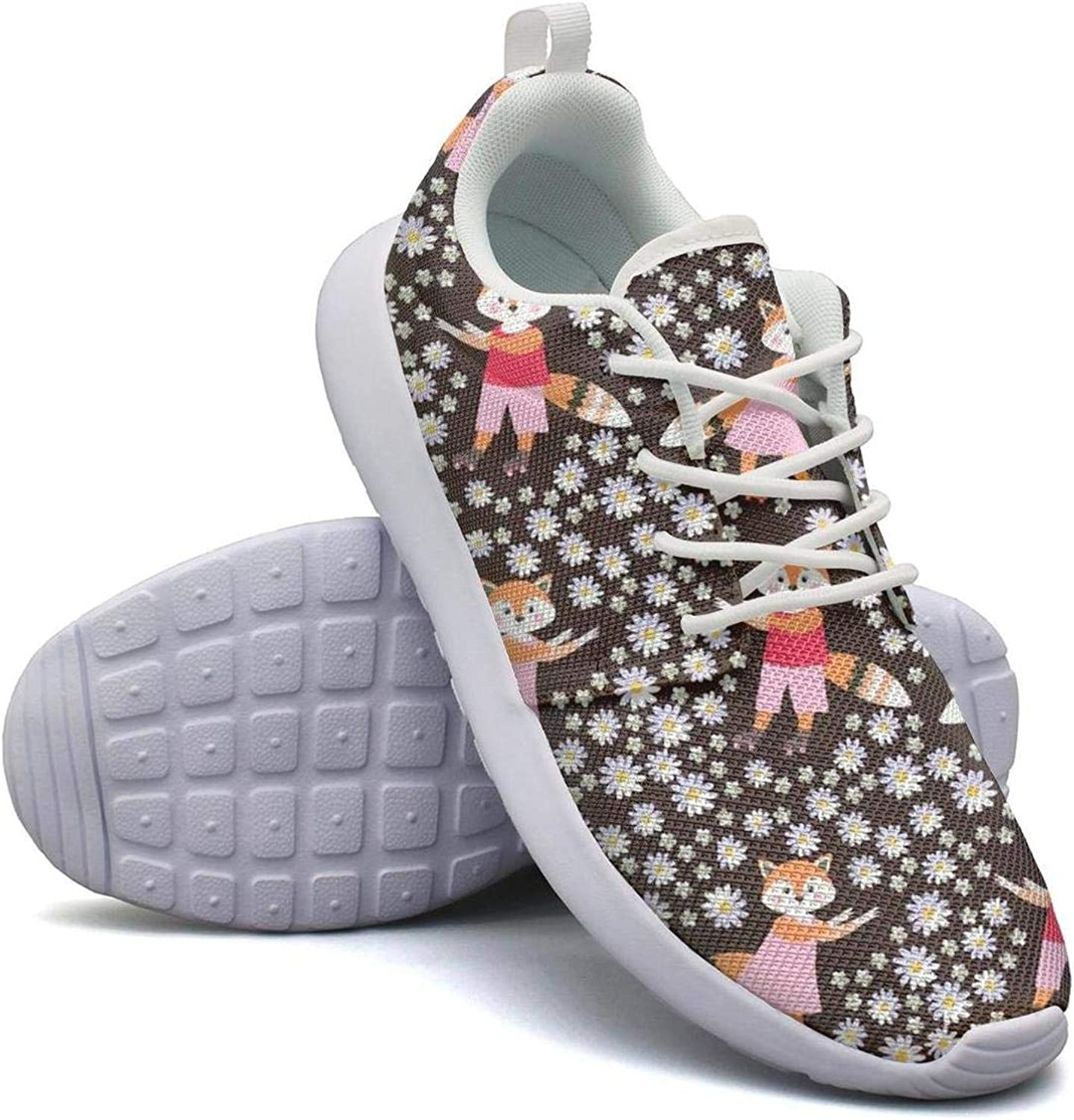 Comfort Womens Lightweight Mesh shoes Cute Daisy Flower and Fox Sneakers Running Lace-Up