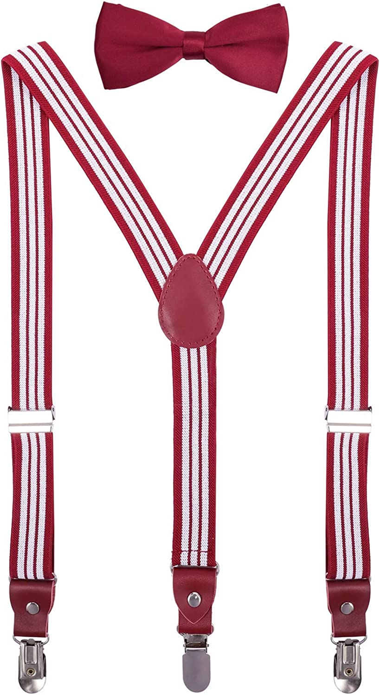 CEAJOO Men Boys' Suspenders and Bow Tie Set Adjustable Elastic