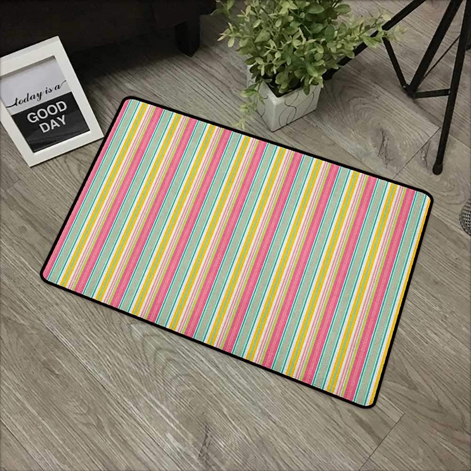 Pad W35 x L59 INCH Teal and White,colorful Bold Lines in greenical Order Cheerful Summer Design, Coral Marigold Turquoise Easy to Clean, no Deformation, no Fading Non-Slip Door Mat Carpet