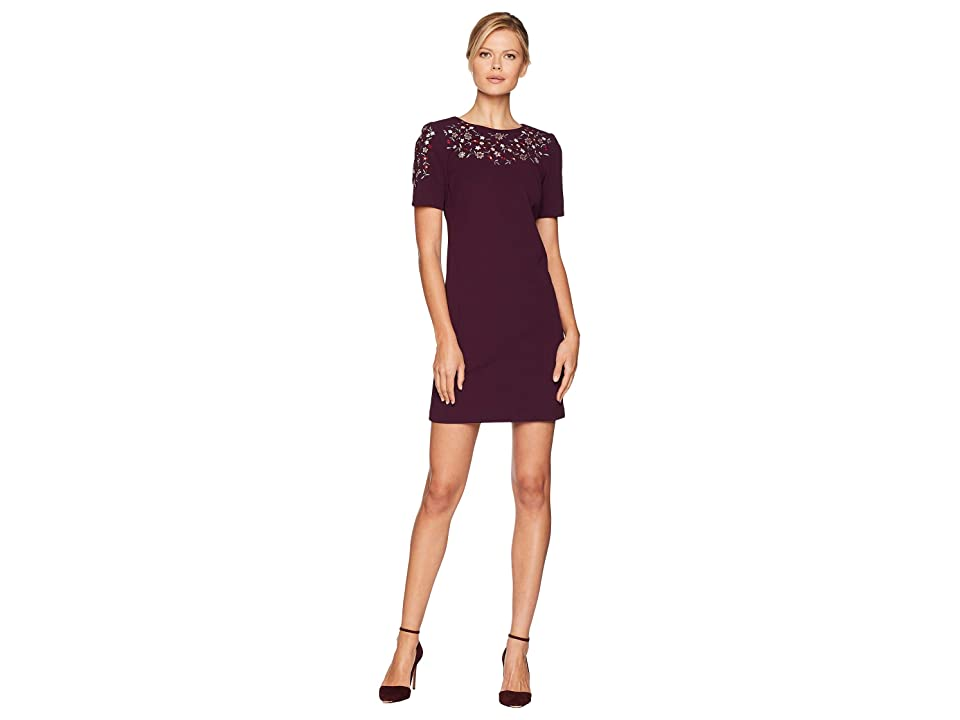 Calvin Klein Short Sleeve Embroidered Sheath Dress CD8C14RC (Aubergine) Women