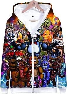 Unisex Cartoon Five Nights at Freddy Cosplay Zipper Hoodies for Man, Boys Sweatshirt Costume Jacket Coat.2