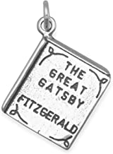 925 Sterling Silver The Great Gatsby Book Charm Oxidized Double Sided Book Charm