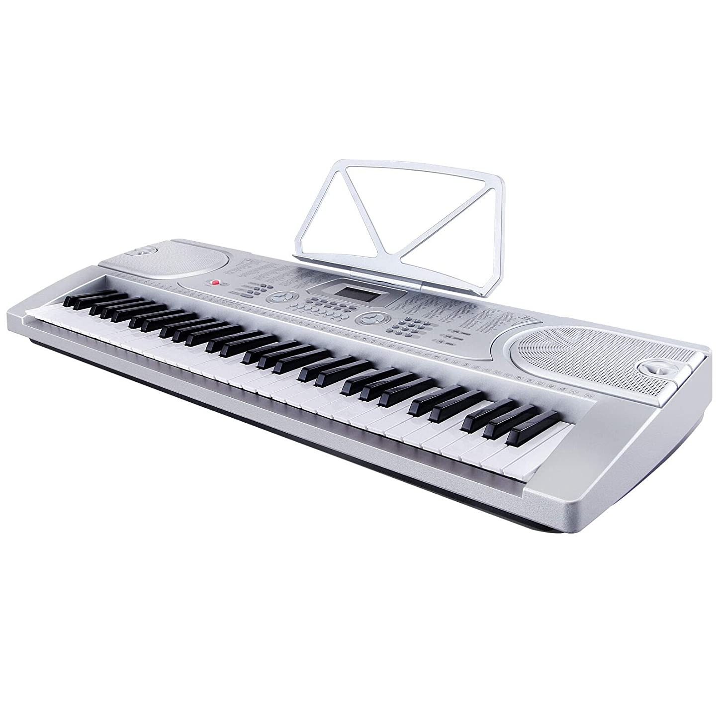 61 key Beginners Portable Electric Music Piano Keyboard with Music Stand, Power Supply and Microphone for Kids Teen Adult