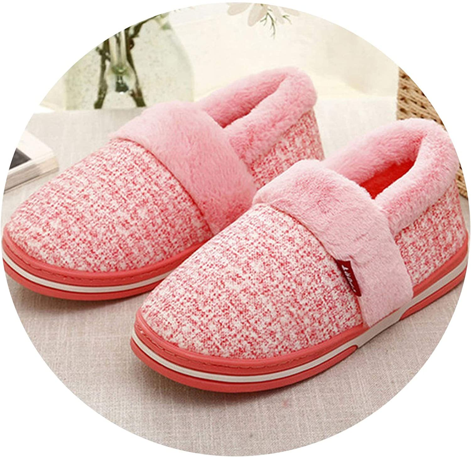 Can't be satisfied Winter Home Women Warm Plush Indoor Slippers Non Slip Flats Cotton Ladies Slip On Lazy Loafers,Pink,8