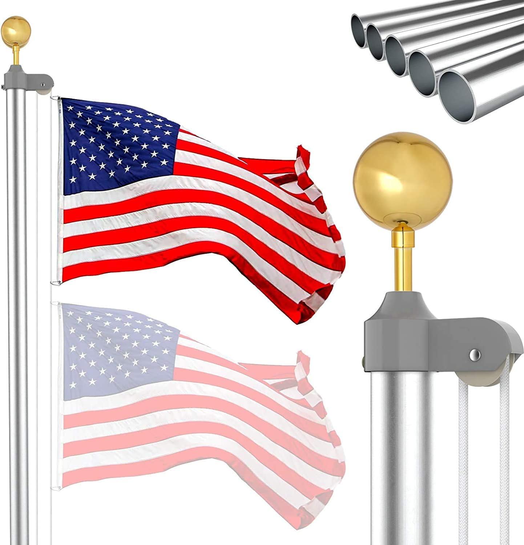 IIOPE 20 FT Flag Pole sale Kit Ground In Heavy Duty Aluminum Luxury Outdoor