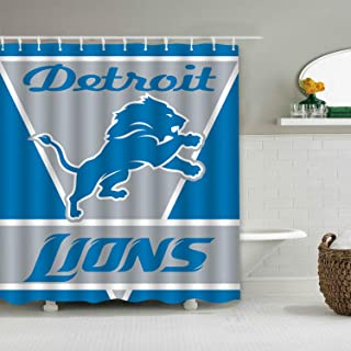 Sorcerer Custom Colourful Detroit Lions American Tootball Team Shower Curtain Polyester Waterproof Proof for Bathroom Decoration Set with Hooks 66x72 Inches