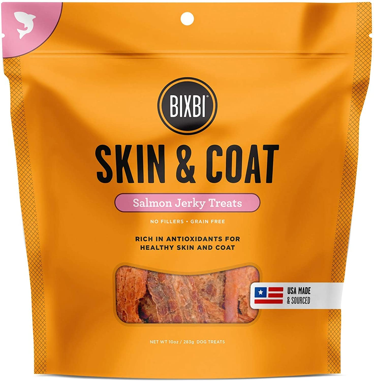 BIXBI Skin & Coat Dog Jerky Treats, Salmon, 15 Ounce