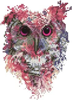 DIY Diamond Painting Kits for Adults, Watercolor Owl Round Drill Rhinestone Embroidery Cross Stitch Supply Arts Craft Canvas Wall Decor 11.8x11.8 inch