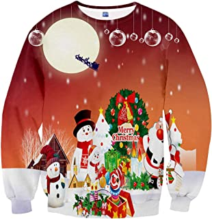 65911486e3b2 Neemanndy Unisex 3D Shirts Digital Print Crew-Neck Long Sleeve Colorful T  Shirts for Men