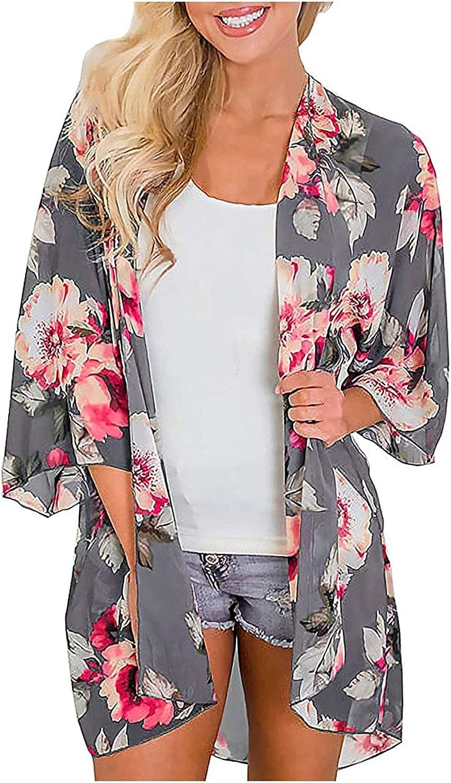 JSPOYOU Women's Flowy Summer Chiffon Floral Print Kimono Cardigans Tops Boho Beach Cover Ups Casual Loose Shirts