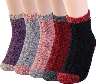 Cozy Fuzzy Slipper Socks Women Plush Soft Warm Fluffy Coral Velvet Thicken Crew Socks for Winter Holiday 5 Pairs