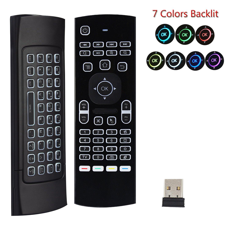 7 Color retroiluminada Teclado Air Mouse MX3, inalámbrico de 2,4 ...