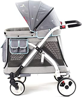 Familidoo Multi-Purpose Folding Single Stroller Wagon with Deep Carriage, Zipper Doors, Removable & Reversible Canopy, Seat (Chariot Mini Gray)