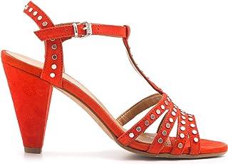 Sandalo Lalla Rosso con Borchie e Tacco Medio - 41356 Mango Fiamma - Taglia