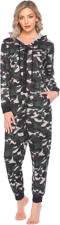 Ekouaer Women Onesies Popular product Pajamas Hooded Credence L One Sleepwear Adult Piece