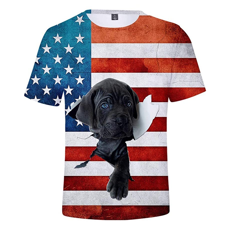 KLFGJ Men Patriotic Tees on July 4th,Printed Sports Shirts Pure Large Size Blouse Independence Day Tops
