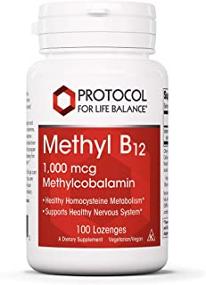 Protocol For Life Balance - Methyl B12 1,000 mcg Methylcobalamin - Supports Homocysteine Metabolism and Healthy Nervous Sy...