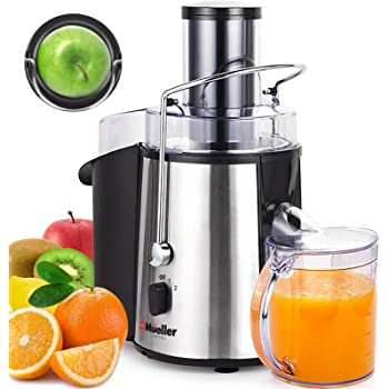 "Mueller Austria Juicer Ultra 1100W Power, Easy Clean Extractor Press Centrifugal Juicing Machine, Wide 3"" Feed Chute for Whole Fruit Vegetable, Anti-drip, High Quality, Large, Silver"