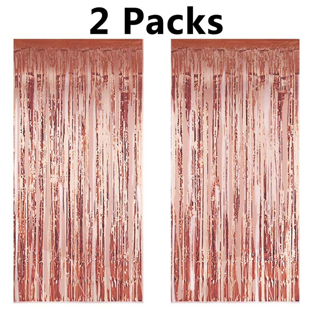 2PCS Rose Gold Foil Fringe Curtains Photo Backdrop,3ft x 8.3ft Metallic Tinsel Curtains for Birthday Wedding Engagement Bachelorette Party Bridal Shower Baby Shower Decorations Favors Supplies