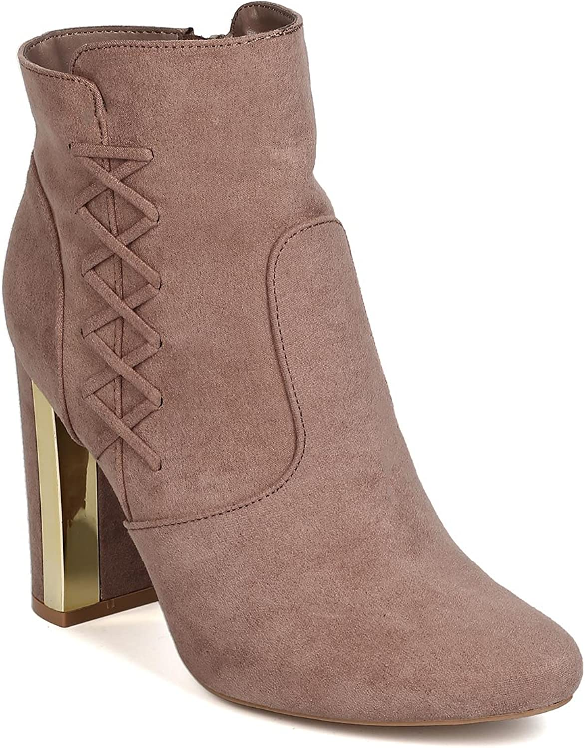 Qupid Women Faux Suede Lace Up Metallic Trim Chunky Heel Bootie GJ18 - Taupe