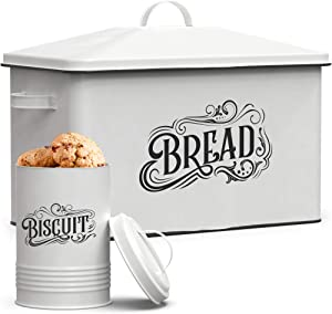 Farmhouse Bread Box - XL Size Bread Storage Container with Matching Biscuit Tin in White Metal - Bread Boxes For Kitchen Counter Extra Large (Retro Design)