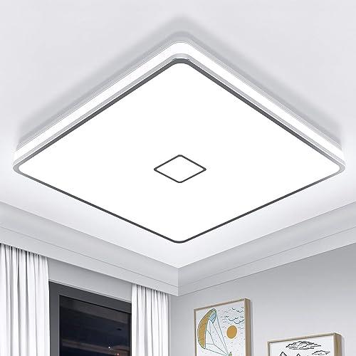 Plafonnier LED 24W Luminaire Salle de Bain 2050LM Blanc Froid 5000K Airand Lampe de Plafond Étanche IP44 Plafonnier S...