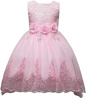 72706d518a2 Happy Cherry Filles Enfants Robe d Honneur Floral en Lace et Tulle - Robe  Pailleté