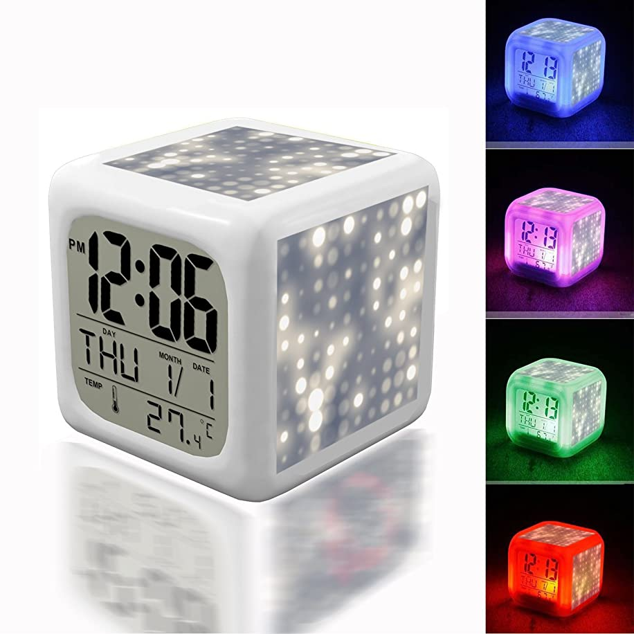 Alarm Clock 7 LED Color Changing Wake Up Bedroom with Data and Temperature Display (Changable Color) Customize The pattern-603. Light Blurs and Abstract Circle Patterns - Twilight 1