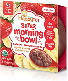 Happy Tot Super Morning Oatmeal Bowls Organic Toddler Food Bananas and Strawberries, 4.5 Ounce Bowl (Pack of 8) Baby/Toddler Food Breakfast Bowl, Organic Toddler Breakfast, Yogurt Fruit & Oats