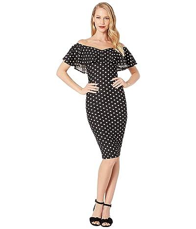 Unique Vintage Ruffle Sophia Wiggle Dress (Black/White Polka Dot) Women