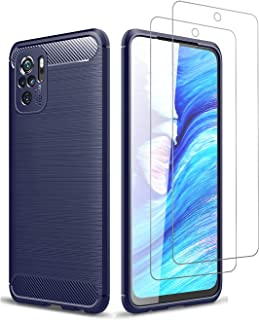 Fegishilly Case with Screen Protector Tempered Glass Compatible with Redmi Note 10S, Lightweight Shock Absorbing Resilient...