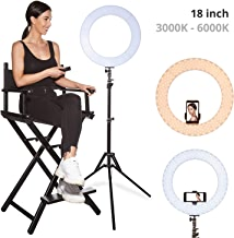 Inkeltech Ring Light - 18 inch 60W Dimmable LED Ring Light Kit with Stand - Adjustable 3000K-6000K Color Temperature Lighting for Vlog, Makeup, YouTube, Camera, Photo, Video - Control with Remote