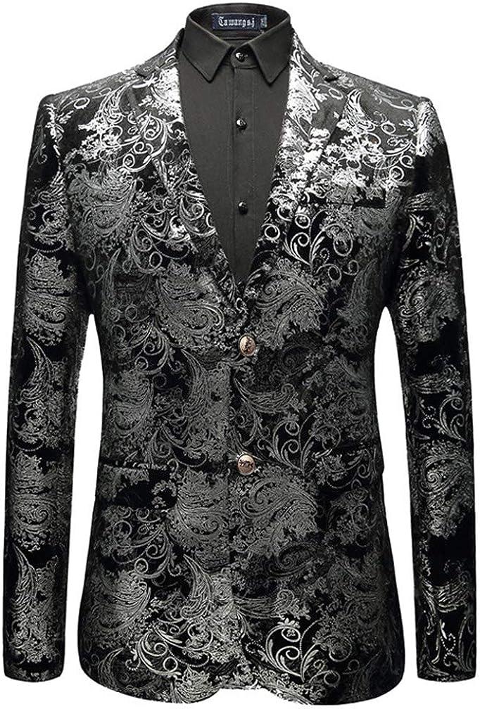 Lavnis Men's Dress Floral Suit Jacket Casual Notched Lapel Slim Fit Two Button Tuxedo Blazer Coat
