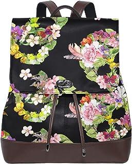 FAJRO Mochila de Piel con diseño de Calavera y Flores