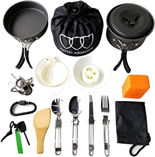 Gold Armour 10-17Pcs Camping Cookware Mess Kit Backpacking Gear & Hiking Outdoors Bug Out Bag Cooking Equipment Cookset   ...