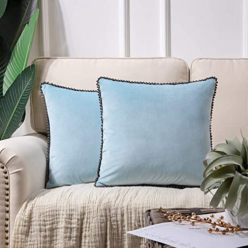 wholesale Phantoscope Decorative Set of 2 Soft Velvet Throw Pillow Cushion Cover Light online sale Blue with popular Solid Silver Color Particles Trimmed 18 x 18 inches 45 x 45 cm online