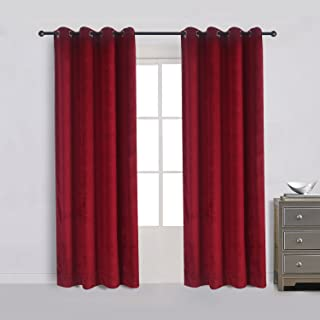 Cherry Home Set of 2 Classic Blackout Velvet Curtains Panels Home Theater Grommet Drapes Eyelet 52Wx96L-inch Red(2 panels)Theater  Bedroom  Living Room  Hotel